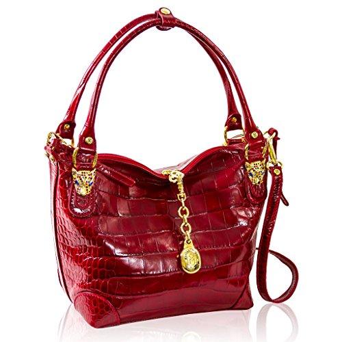 Marino Orlandi Italian Designer Red Croc Crossbody Bag Purse w/Leopard Heads