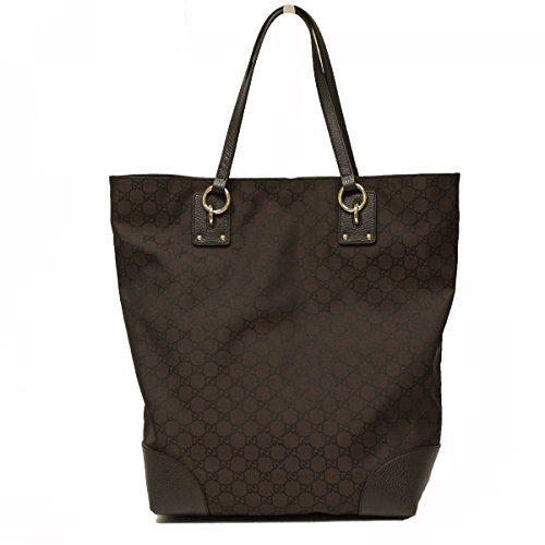 Gucci Brown Nylon and Leather Large Tote Bag