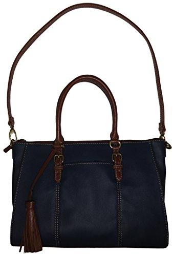 Tignanello Purse Handbag Leather Everyday Casual Satchel Sailor Blue