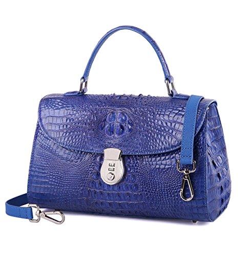 GAVADI Crocodile Leather Ladies Top Handle Bag with Combination Lock Blue