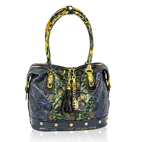 Marino Orlandi Italian Designer Blue Handpainted Roses Leather Large Purse Bag