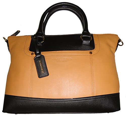 Tignanello Women's Genuine Leather *Smooth Operator* Convertible Satchel Handbag, Cognac/Black