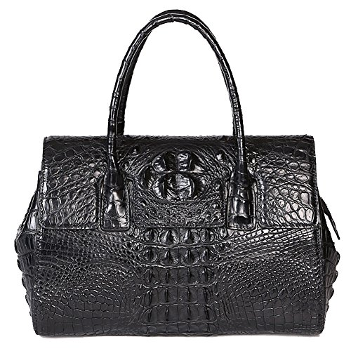 GAVADI Women Real Crocodile Leather Portable Tote Bags Black G030