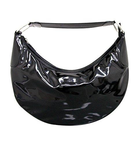 Gucci Black Patent Leather Half Moon Hobo Handbag 257297