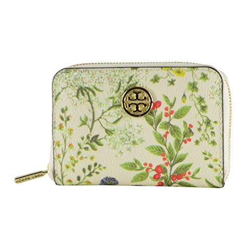 Tory Burch Robinson Printed Zip Coin Case Watercolor Botanical Print
