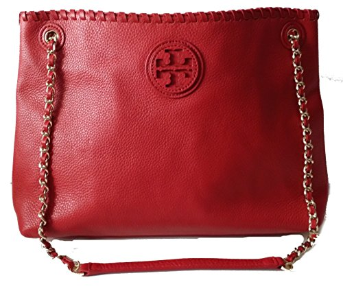 Tory Burch Leather Marion Chain Shoulder Slouchy Tote Bag