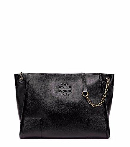 Tory Burch Britten Black Patent Chain-shoulder Slouchy Tote Bag
