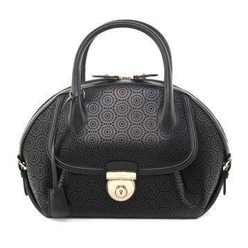 Salvatore Ferragamo Fiama Medium Laser-cut New Leather Handbag Black