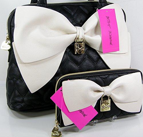 New Betsey Johnson Logo Purse Dome Satchel Hand Bag Hearts & Wallet Set 2 Piece