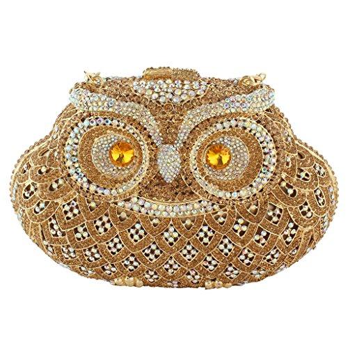 Yahoho Women's Owl Evening Bag Handbag Clutch Brown Austrian Crystal Christmas Gift
