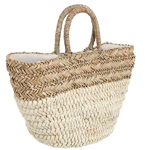 MG Collection RAEANN Oversized Beige Hobo Hand Woven Basket Tote Style Handbag