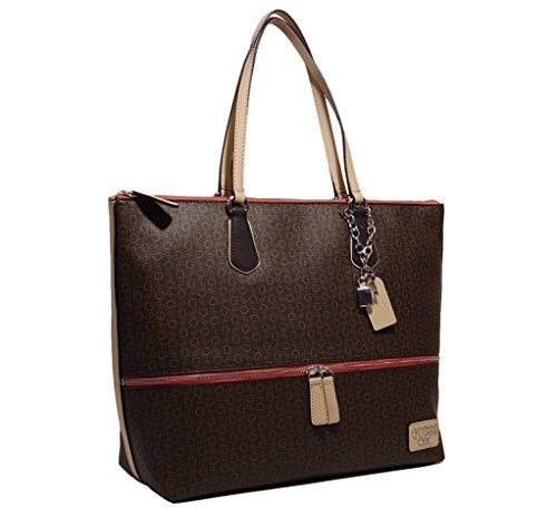 GUESS Women's Willowbrook Large Tote Bag Handbag (Natural / Brown)
