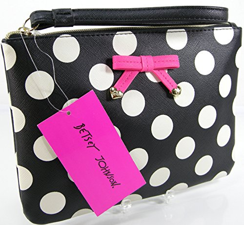 New Betsey Johnson Logo Wristlet Purse Hand Bag Polka Dot Black Bone Pink Clutch