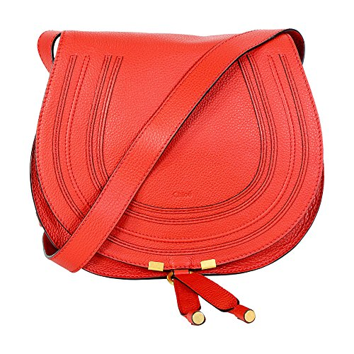Chloe Marcie Medium Leather Satchel Handbag – Paprika Red