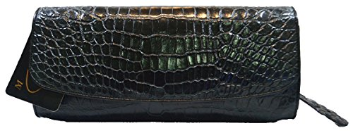 Authentic M Crocodile Skin Womens Belly Leather Shiny Black W/Chain Clutch Bag Purse Handbag