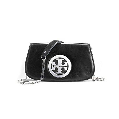 Tory Burch Logo Womens Black Leather Clutch