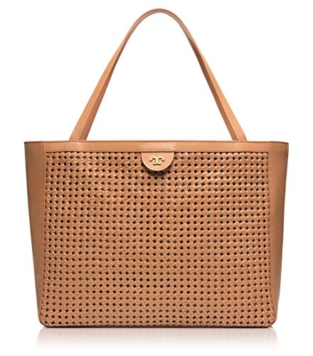 Tory Burch Woven Stitch Weave Leather Erica Tote Tan Beige – Mousse 12149871
