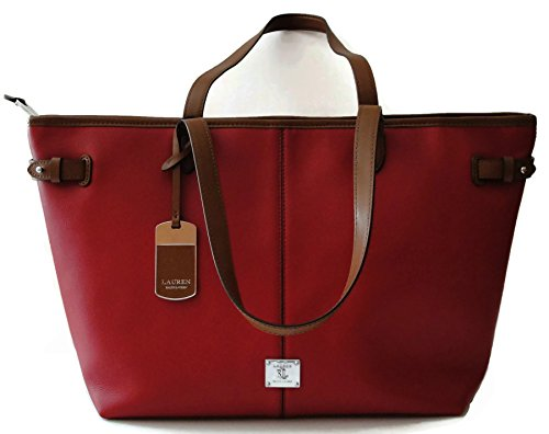 LAUREN Ralph Lauren Sandland Tote Red Leather Business Shoulder Handbag