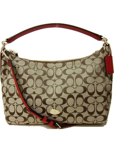 Coach F36716 Signature Celeste East West Convertible Hobo Handbag Khaki/classic Red