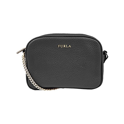 Furla Pebbled Leather MIKY Mini Cross Body Shoulder Bag (Onyx 001)