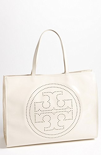 Tory Burch Large Perforated Logo Tote in Ivory PVC Patent