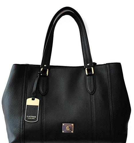 LAUREN by Ralph Lauren Black Leather Shoulder Handbag Robertson Shopper Tote