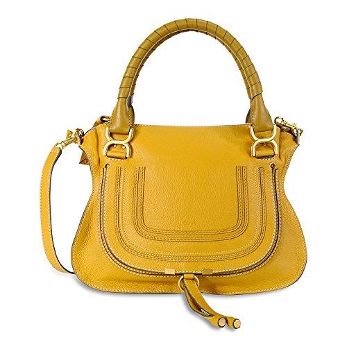 Chloe Marcie Medium Leather Satchel Handbag – Curry Yellow