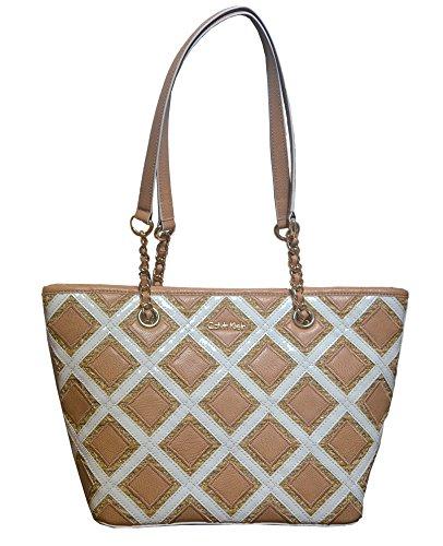 Calvin Klein Patchwork Tote Handbag Shoulder Bag Purse Natural