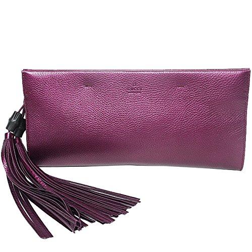 Gucci Nouveau Metallic Leather Clutch 347109 Purple with Black Bamboo Tassel