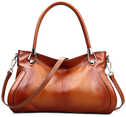 Heshe® Luxury New Fashion Women Soft Cowhide Leather Vintage Shoulder Bag Handbag Tote Top-handle Business Purse Cross Body Big Capacity Casual Simple Style