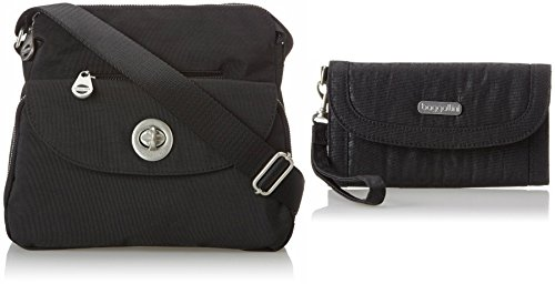 Baggallini Provence Crossbody, Black with FREE Lafayette Wallet in Black