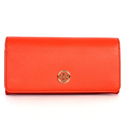 Tory Burch Robinson Envelope Continental Saffiano Wallet Blood Orange