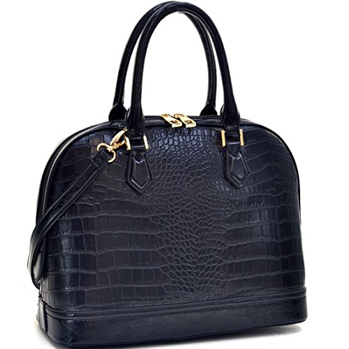 Dasein Faux Crocodile Leather Dome Top Zip Around Satchel Shoulder Handbag Purse