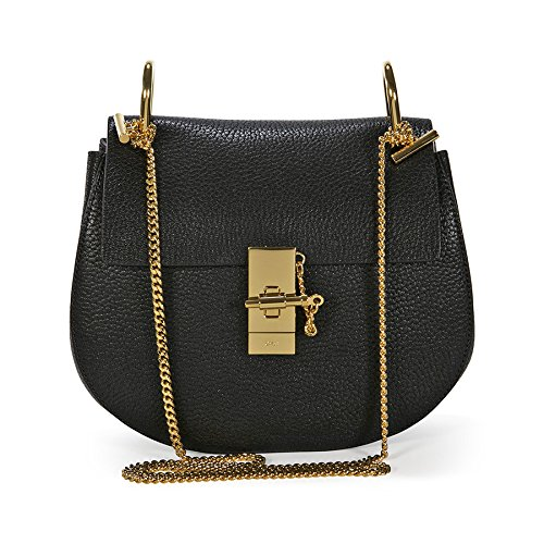 Chloe Drew Calfskin Leather Shoulder Bag – Black