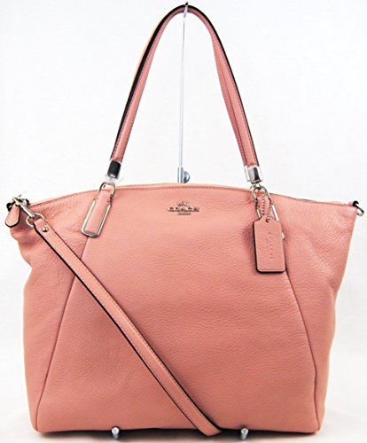 Coach 34494 Large Pebble Kelsey Blush Leather Handbag Shoulder Bag