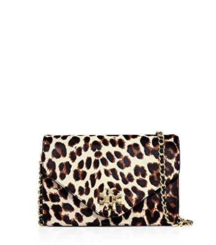 Tory Burch Kira Calf Hair Envelope Crossbody Bag Snow Leopard