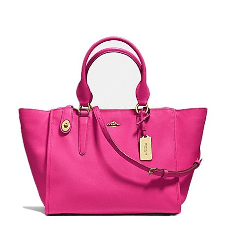 Coach F33995 Crosby Carryall in Crossgrain Leather Light Gold Pink Ruby