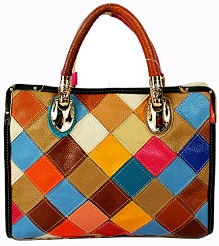 Heshe® Women's New Fashion Soft Leather Tote Bag Hobo Shoulder Bag Handbag Hobo Bag Grid Multi-color Stitching Splicing Personality Simple for Ladies