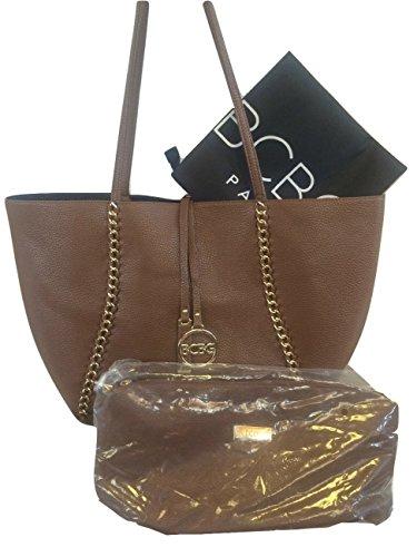 BCBG Paris Reversible Chain Tote with Convertible Bag Brown/Black