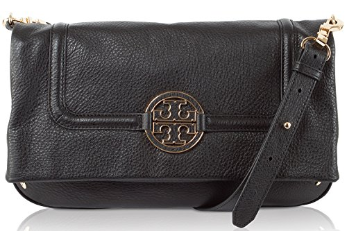 Tory Burch Amanda Foldover Womens Black Leather Messenger Bag