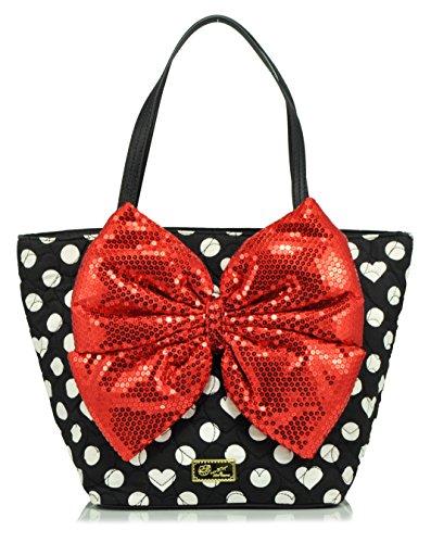 LUV BETSEY by Betsey Johnson Bow Tote Handbag, Black Dot
