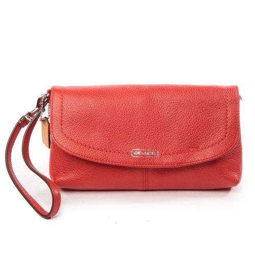 Coach Parker Leather Flap Wristlet Wallet Clutch Bag 49177 Vermillion