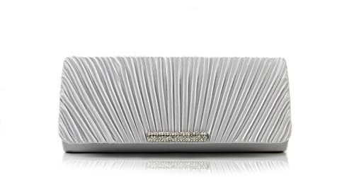 Scarleton Satin Flap Clutch With Crystals H3017
