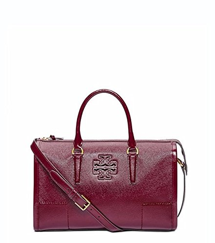 Tory Burch Britten Red Agate Burgundy Patent Leather Satchel Bag Handbag New