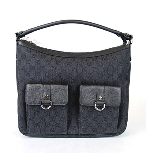 Gucci Black Denim D Ring Handbag Abbey Hobo Purse Bag 293581 1160