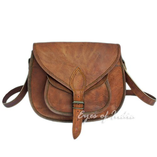 13″ BROWN GENUINE LEATHER VINTAGE WOMEN'S PURSE BAG BOHO WESTERN HIPPY CLUTCH