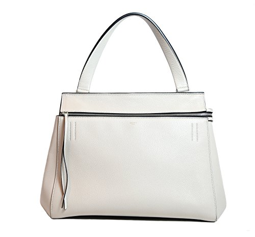 Celine Leather Shoulder Tote Bag in Solid Beige
