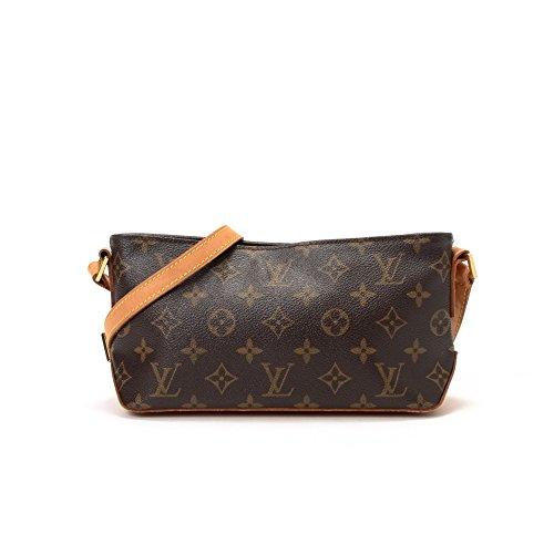Authentic Vintage Louis Vuitton Brown Monogram Trotteur Leather Hand Bag