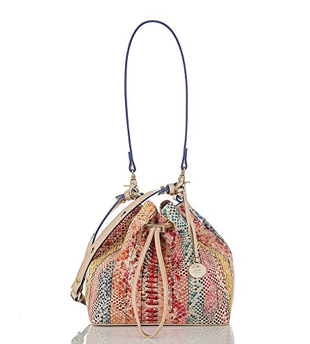 Brahmin Maxine Multi Coronado Snake Embossed Drawstring Bucket Bag