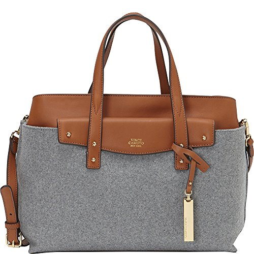 Vince Camuto Womens Ilya Satchel Ghost Gray/Umber